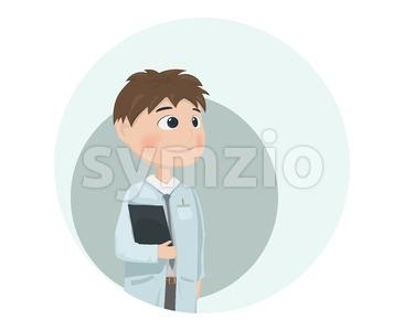 Man Doctor Vector illustration. Cartoon character. happy face Stock Vector