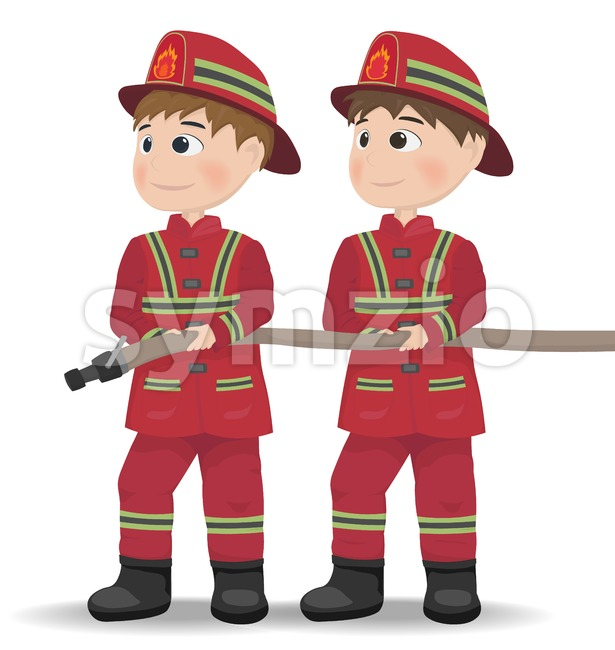 Firemen Vector. Cartoon character equiped. Template illustrations Stock Vector