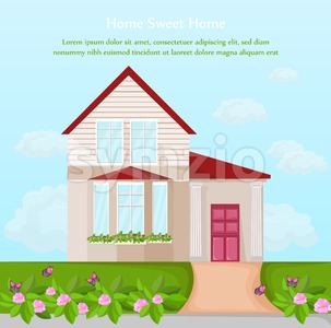 Classic House architecture facade Vector. beautiful decor illustration Stock Vector