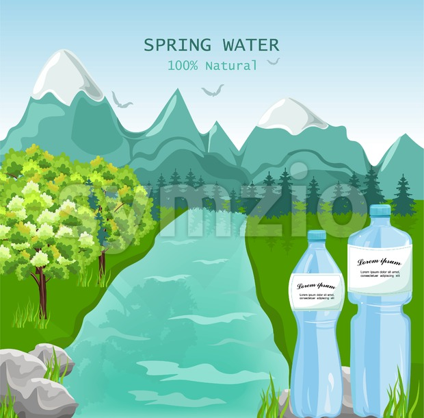 Mountains water Vector. Beauty nature Spring green background Stock Vector