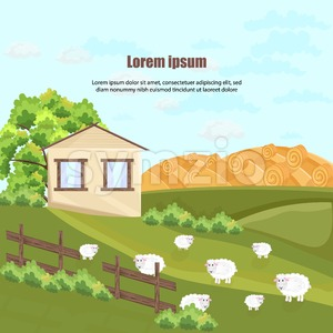 Farm house Vector. Nature beautiful green yard background Stock Vector