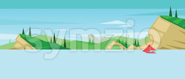 Digital vector abstract background with a red boat Stock Vector