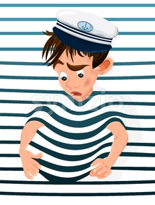 Little boy trapped in a marine background. Vector cartoon character funny face Stock Vector