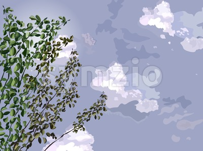 Green tree over dark sky background Vector illustration Stock Vector