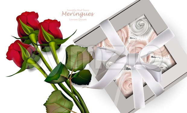Red Roses bouquet and meringues Vector. Realistic 3d illustration. Gift box Stock Vector