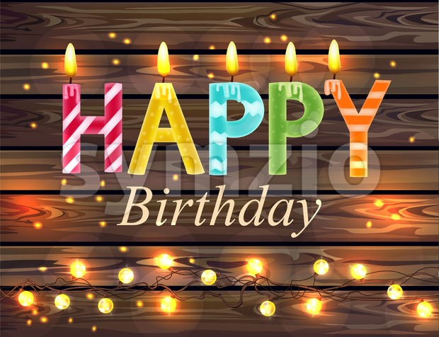 Happy birthday candles text Vector. Wooden lights background Stock Vector