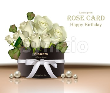 White roses flowers bouquet card Vector realistic. Beautiful floral background Stock Vector