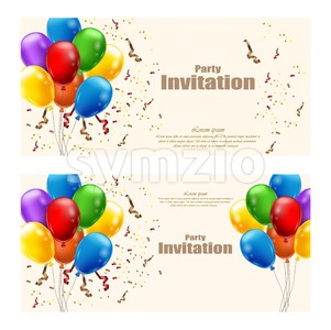 Balloons party invitation card Vector. celebrate events banner Stock Vector