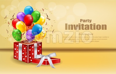 Party invitation card with gifts and balloons Vector. celebrate events banner poster Stock Vector