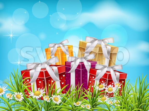 Colorful Gift boxes on blue sky background. Vector realistic 3d illustration Stock Vector