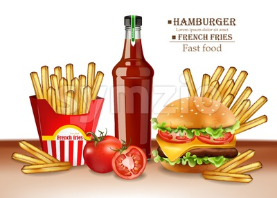 Fast food menu burger and french fries Vector realistic. 3d illustration Stock Vector