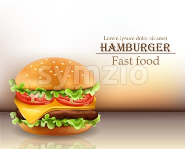 Hamburger Vector realistic. Cheese and tomatoes. 3d Detailed illustration Stock Vector