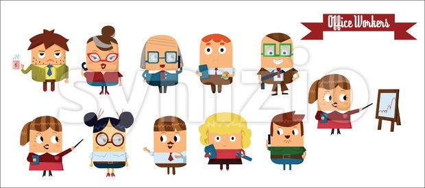 Digital vector cartoon characters set Stock Vector