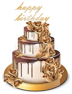 Happy Birthday golden cake Vector. Delicious dessert with gold roses flowers sweet design Stock Vector