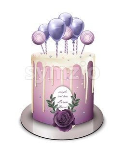 Lavender cake Vector realistic. White chocolate frosting. Birthday, anniversary, wedding royal dessert Stock Vector