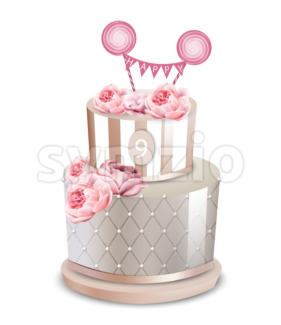 Wedding cake Vector realistic. Anniversary, birthday, ceremony modern desserts. White luxury cake with rose flower Stock Vector