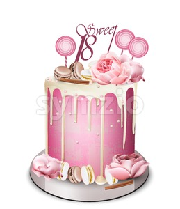 Pink cake with peony flowers on top Vector realistic. White chocolate frosting. Birthday, anniversary, wedding royal dessert Stock Vector