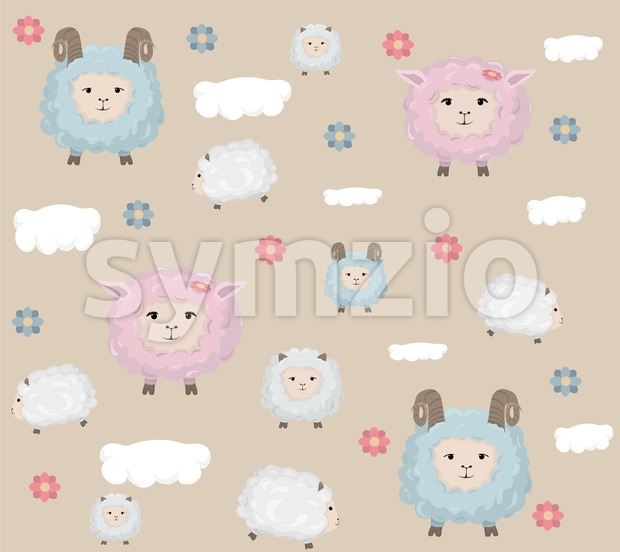 Happy Easter card with sheep Vector. Holiday pattern background Stock Vector