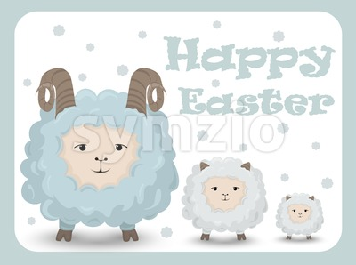 Happy Easter card with sheep Vector. Holiday background Stock Vector