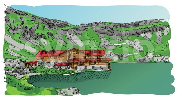 Digital vector sketch landscape lake Stock Vector