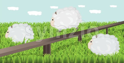 Sheep grazing the grass Vector illustration. Spring background Stock Vector