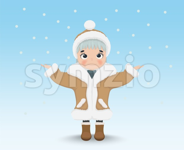 Happy Cute little girl Vector. Cartoon character, winter snowing background Stock Vector