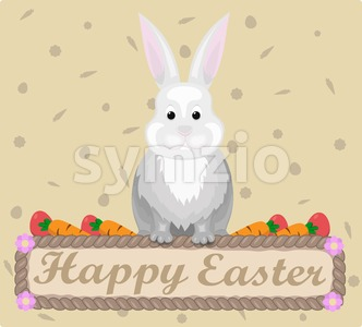 Happy Easter rabbit Vector. Holiday card flat style illustration Stock Vector