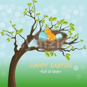 Easter holiday card with Eggs nest Vector. Spring background Stock Vector