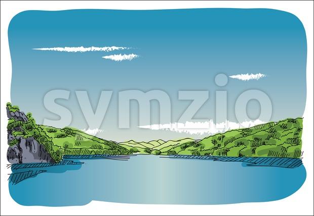 Digital vector sketch lake at transfagaras Stock Vector