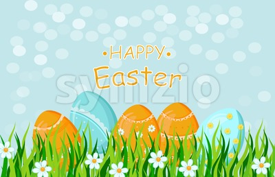 Happy Easter eggs card Vector holiday background illustration Stock Vector