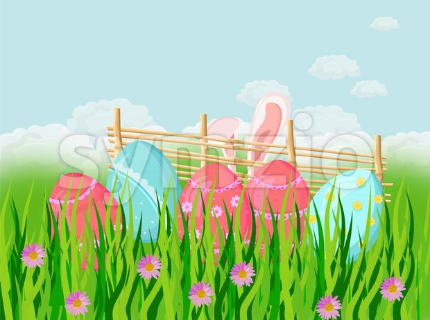 Easter holiday background with cute rabbit ears and eggs in the grass Vector illustration Stock Vector