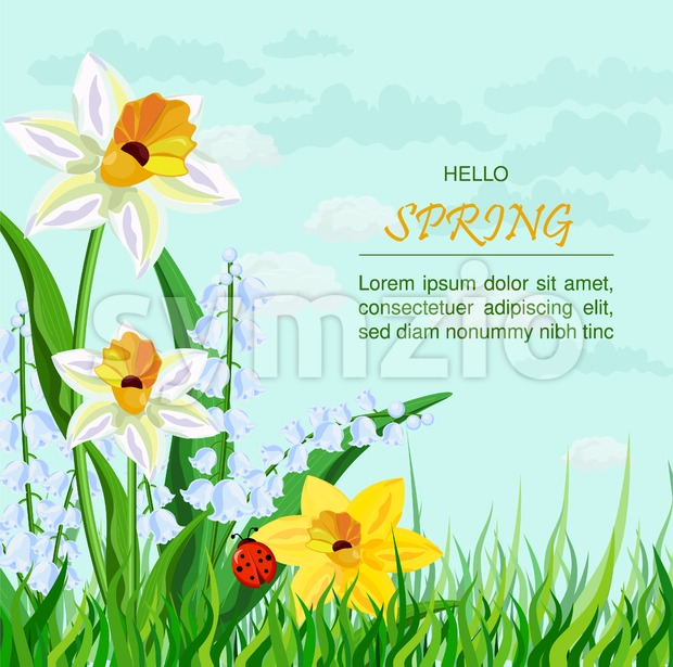 Narcissus flowers background Vector. Spring Holidays illustration Stock Vector