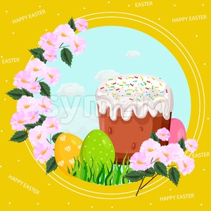 Easter holiday card with eggs and sweet bread Vector illustration Stock Vector