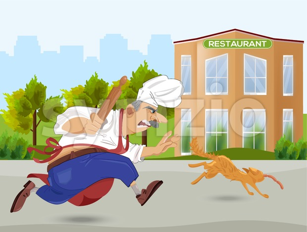 Chief cook chasing a cat Vector. Cartoon character. Outdoors restaurant background Stock Vector