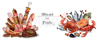 Set of meat vs seafood set Vector realistic detailed illustration. Meat or fish text Stock Vector
