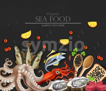 Tuna fish, caviar, squid, oysters and octopus seafood banner. Template, layout, flyer Vector realistic detailed illustration Stock Vector