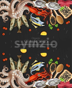 Tuna fish, caviar, squid, oysters and octopus seafood collection banner. Template, layout, flyer Vector realistic detailed illustration Stock Vector