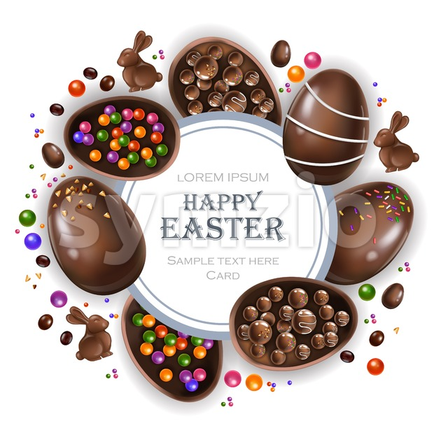 Happy Easter round card with chocolate bunny and eggs. Vector 3d realistic illustration Stock Vector