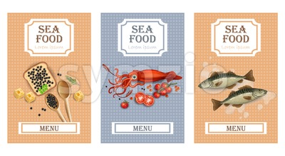 Sea food menu cards Vector realistic. Layout Template with fish, squid and caviar Stock Vector