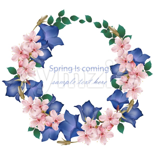 Spring is coming card with cherry flowers wreath Vector. Realistic detailed illustration Stock Vector