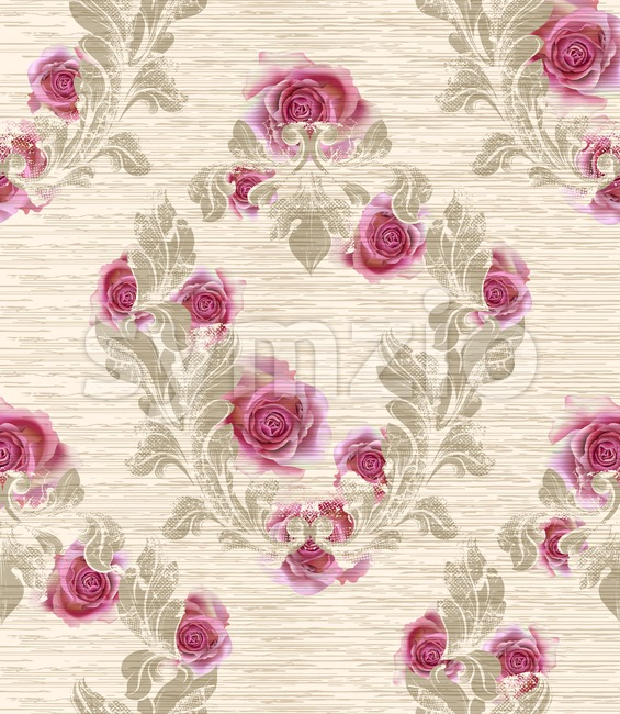 Damask pattern with rose flowers decor Vector illustration. Texture design Stock Vector