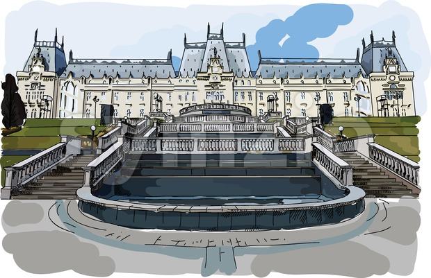 Digital vector painted palace of culture in Iasi Stock Vector