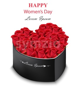 Red roses black box heart shape Vector. Realistic detailed flowers. Romantic bouquet for Women Day, Valentine day or wedding Stock Vector