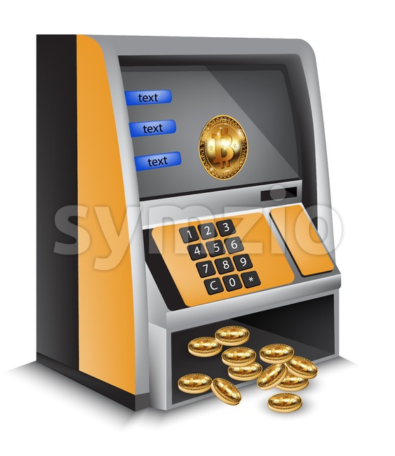 ATM bitcoins cash machine Vector illustration. Cryptocurrency tranfers concept