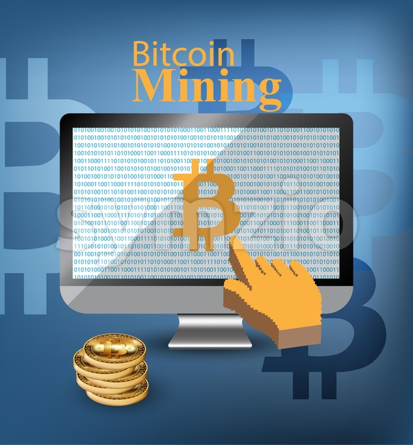 Digital Vector bitcoin mining monitor screen Vector illustration Stock Vector