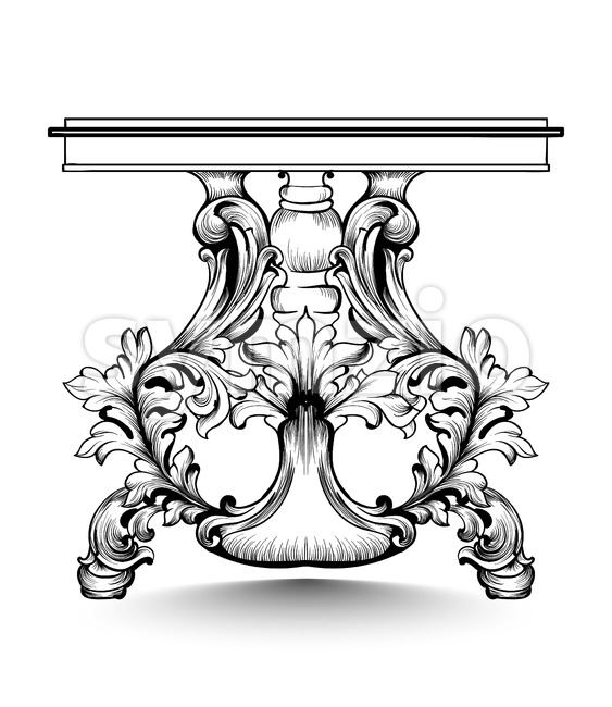 Baroque console table with luxurious ornaments. Vector French Luxury rich intricate structure. Victorian Royal Style decor Stock Vector