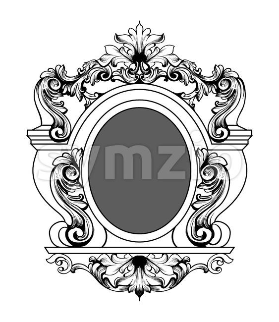 Baroque mirror frame. Vector round decor design elements. Rich encarved ornaments line art Stock Vector