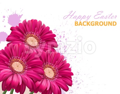 Happy Easter daisy flowers bouquet card. Spring floral beauty Fuchsia color Stock Vector