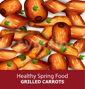 Grilled carrots Vector. Menu template realistic illustration Stock Vector