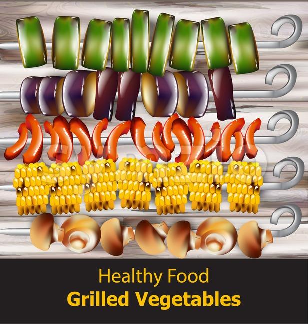 Grilled vegetables vegan kebabs Vector. Healthy food vegetarian style Stock Vector